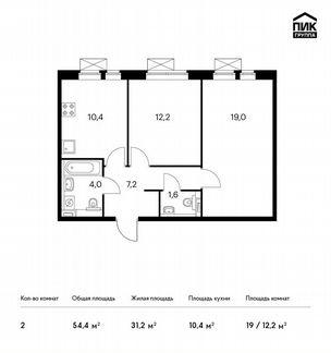 2-к квартира, 54.4 м², 15/17 эт. объявление продам