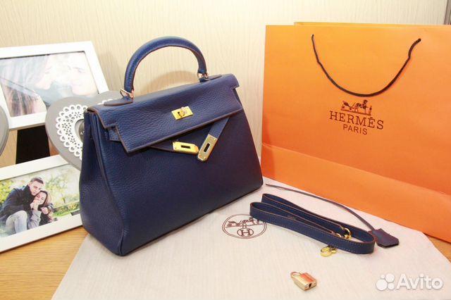 579be4be0615 Женская сумка Hermes Kelly синяя натуральная кожа купить в Москве на ...