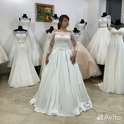 02a04e859bb Новое атласное свадебное платье с кружевом