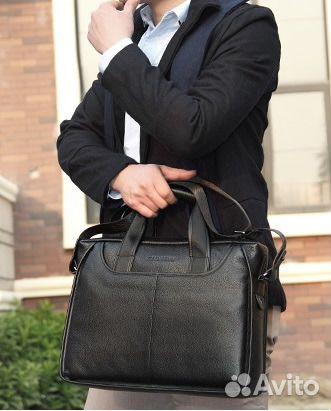 0f8526cb6e7e Мужская сумка-портфель из натуральной кожи, черная | Festima.Ru ...