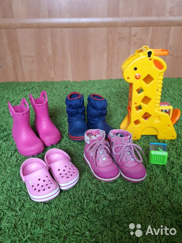809678507 Crocs c 6, сапоги демисезонные на девочку— фотография №1. Адрес: Россия, Нижегородская  область ...