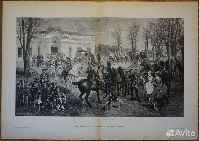 Старинная гравюра 1887 г. охота лошадь антиквариат купить 5