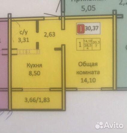1-к квартира, 30 м², 14/17 эт.  89058149226 купить 1
