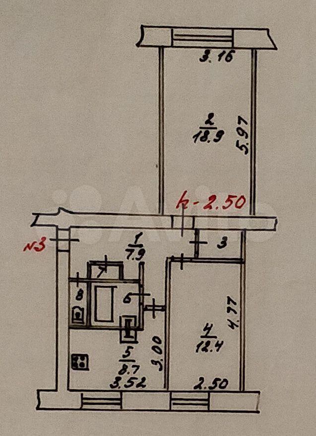2-к квартира, 53.9 м², 1/5 эт.  89600208415 купить 1