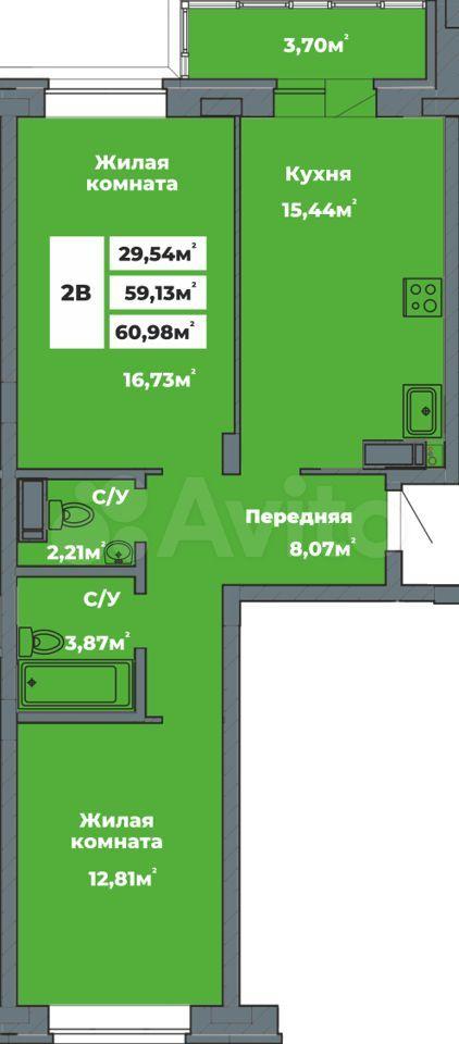 2-к квартира, 61 м², 7/16 эт.  89176580999 купить 1