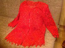 Нарядная алая-красная блуза, из атласного шитья,пр