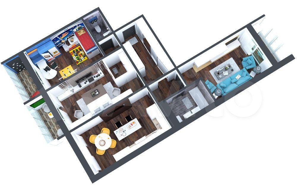 3-к квартира, 94.6 м², 12/16 эт.  89833802644 купить 2