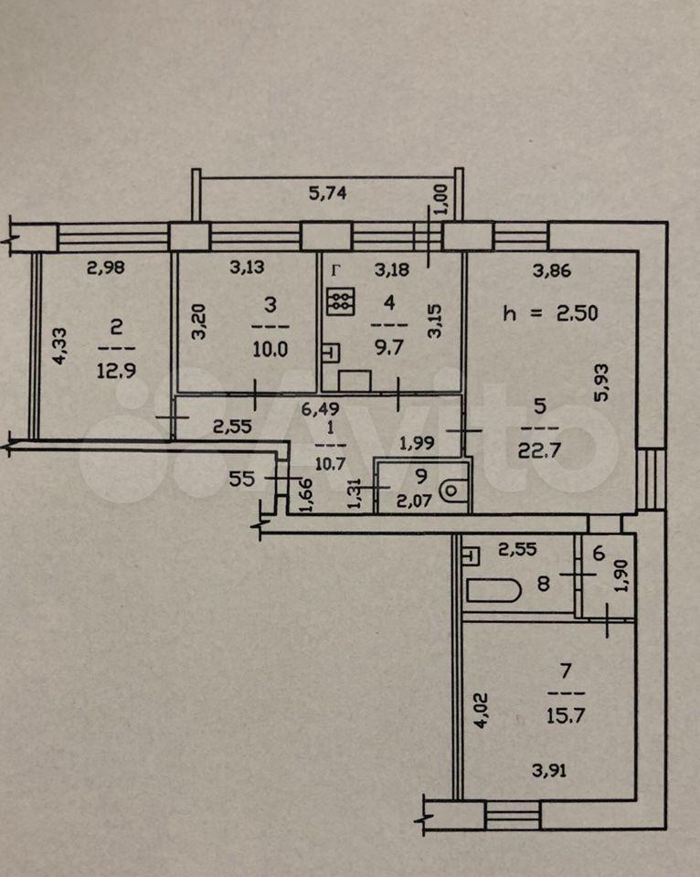 4-к квартира, 91 м², 2/6 эт.  89210551285 купить 1